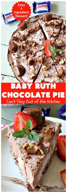 Baby Ruth Chocolate Pie | Can't Stay Out of the Kitchen | this outrageous #chocolate #pie made with #BabyRuthCandyBars so it's chocolaty