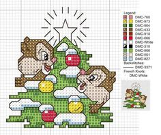 Cross-stitch Chip & Dale Christmas Ornament: