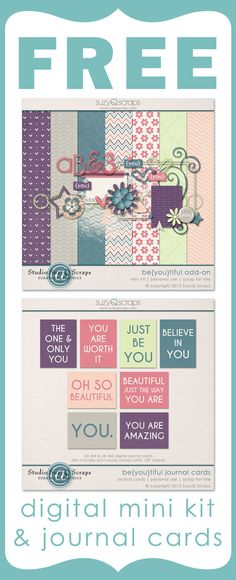 Free digital mini kit and free journal cards. Great for digital scrapbooking and Project Life. http://suzyqscraps.com/newsletter/