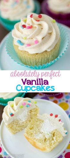 The Perfect Vanilla Cupcake Recipe - I absolutely love how good they taste! And the frosting is PERFECT!