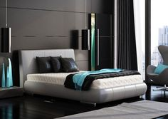 Marcin Pajak: Fresh Modern Interior Design Ideas: Black Turquoise Accents  For Bedroom Design From