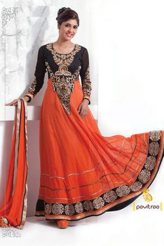 Pavitraa Sparkling Deep Orange & Black Party wear Salwar Kameez SKU : PTR-2514 Best Price : 3267 Visit : https://www.Pavitraa.in Contact name: Pavitraa Fashion Co No : 7698234040