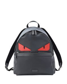 Monster Nylon Backpack, Gray/Red by Fendi at Neiman Marcus.