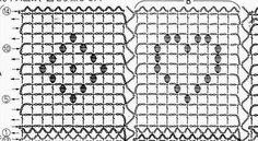 Crochet filet heart and diamond chart