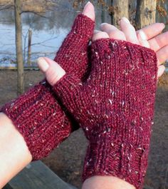 Fingerless Gloves Handknit Burgundy Texting Gloves Merino Wool, Alpaca and Donegal Tweed Green Fingerless Mittens Gauntlets Texting Gloves