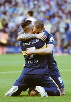 Cristian Pavon of Boca Juniors celebrates with teammate Dario Benedetto after scoring the first goal of his team during a match between Boca Juniors and Chacarita as part of Superliga at. Get premium, high resolution news photos at Getty Images Football Soccer, Football Players, International Teams, World Of Sports, Real Madrid, Fifa, Celebrities, Goals, Grande