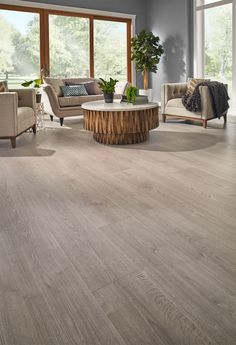 Highly water-resistant Misty Morning Oak is the perfect laminate floor for those who want a coastal style. Its varying neutral shades help accentuate the authentic hardwood design.