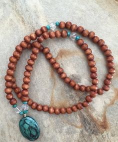Emerald waters mala bead necklace