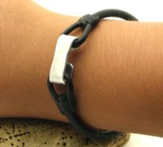 FREE SHIPPING . Men's leather bracelet.Handmade black leather men's bracelet with hammered metal work clasp.