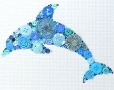 Button Art - Blue Dolphin - Vintage Button Art, Wall Hanging, Wall Art, Home…