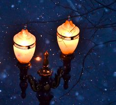 Portland's street lamps in the snow.