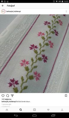Handmade Embroidery Designs, Hand Embroidery Design Patterns, Hand Embroidery Tutorial, Hand Embroidery Stitches, Cross Stitch Embroidery, Cross Stitch Heart, Cross Stitch Borders, Cross Stitch Flowers, Cross Stitch Designs