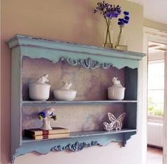 Customer Image Gallery for Shabby Chic Duck Egg Blue Kitchen Wall Shelf Rack