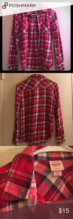 Red plaid long-sleeves top Not flannel - lightweight material great for layering. Worn twice & in great condition. Mossimo Supply Co. Tops Button Down Shirts