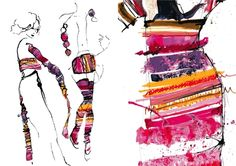 Fashion Illustrations by Sophie Tomlinson with vibrant colour & print detail