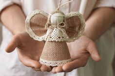 Items similar to Burlap Christmas Angel, Holiday Christmas Tree Ornament, Gift for Him, Rustic Home Decor, Gift for a Couple on Etsy Christmas Angel Ornaments, Handmade Christmas Tree, Burlap Christmas, Homemade Christmas, Christmas Crafts, Christmas Makes, Christmas Holidays, Cadeau Couple, Christmas Gifts For Parents