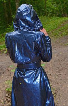 Fetish all around: Photo Blue Raincoat, Pvc Raincoat, Plastic Raincoat, Plastic Pants, Imper Pvc, Rain Fashion, Plastic Mac, Rain Hat, Hooded Cloak