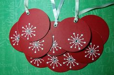 Sparkle Ornament Gift Tags Red and White-Set of 10. $5.00, via Etsy.