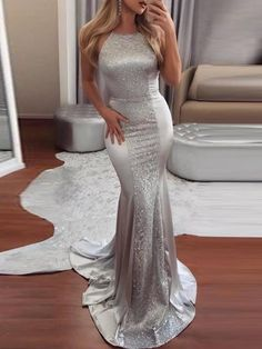 Sparkling Silver Mermaid Prom Dresses Long Sequined And Satin Low Back Criss Cross Straps Sexy Party Dresses Evening Wear Cheap Vestidos Prom Dresses 2018, Backless Prom Dresses, Cheap Prom Dresses, Silver Prom Dresses, Long Silver Dress, Silver Gown, Long Dresses, Bridesmaid Dresses, Sweet 16 Dresses