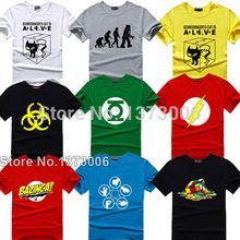 The Big Bang Theory Camiseta Sheldon Cooper super héroe linterna verde el flash cosplay camisetas hombres mujeres friki camiseta TBBT camiseta(China)