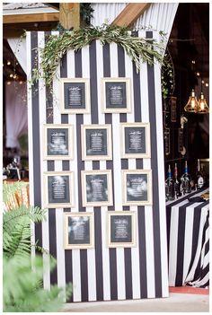 New Years Eve Wedding Inspiration | Kate Spade Inspired Wedding| Black, White and Gold Wedding | Black and White Stripe | Barn Wedding | Bubbly Bar | @hunterryanphoto @dmpaperdesigns
