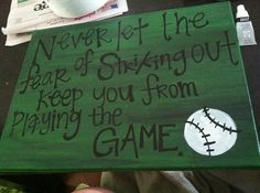 Handmade Baseball Crafts | Craft Ideas / Red and Black Custom Baseball Quote Canvas Art. $20.00 ...