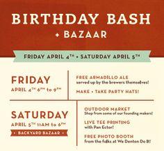 DIME Store Birthday Bath & Bazaar April 5-6, 2014.