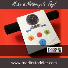 Toddler Activities, Games ( www.toddlertoddler.com): Make a Motorcycle Toy from a cracker box!    VROOOOOOM!