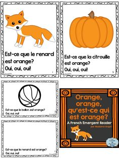 La couleur orange!  Fun emergent reader in French.  Great for teaching colours!  $