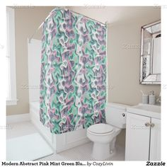 Modern Abstract Pink Mint Green Blue Swirl Pattern Shower Curtain Antique Elegant Dutch Delfts Blue Floral Pattern Shower Curtain. Made for the lover of pretty Delfts Blue pottery from the Netherlands. Ornate, elegant and funky hipster motif for the artistic interior designer, the artsy popular hip trendsetter, vintage retro art style, abstract graphic digital geometric motif lover. Original, modern and whimsical bathroom decor accent.