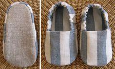 tecido exterior: linho (sola) e algodão. tecido interior: algodão. palmilha: sem palmilha. enchimentos: flanela (sola). ajuste: elástico no calcanhar.  dimensão: 9,0 cm (1-2 meses).  para qualquer contacto: catpin@hotmail.com  ...inspirados nesta fotografia da Ana Ventura: www.flickr.com/photos/anaventura/135388489/in/set-7205759...