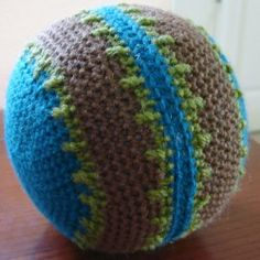 Using Lion Brand yarn you can make this fun ball for your child. This is an easy crochet pattern that is worked in rounds and made with two halves. Some use this a hacky sack.