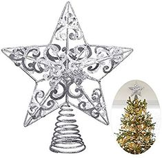 2cf0199b6e88 Amazon.com: Unomor Christmas Star Tree Topper -Silver Glittered Metal  Hallow Tree Star