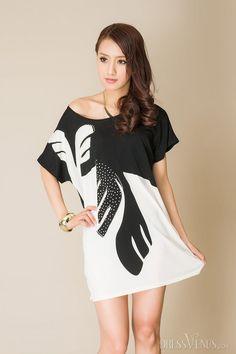 Rhinestone Two-Tone Round-Neck Short Sleeve Short Day Dress, Sleeve