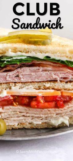 Deli Sandwiches, Healthy Sandwiches, Turkey Sandwiches, Dinner Sandwiches, Turkey Club Sandwich, Roast Beef Sandwich, Chicken Sandwich Recipes, Lunch Recipes, Club Sandwich Ingredients