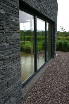 Modern Bungalow Exterior, Modern Bungalow House, Bungalow Ideas, Stone Cladding Exterior, Stone Exterior Houses, House Windows, House Roof, House Designs Ireland, Exterior Remodel