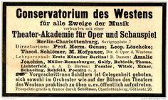 Original-Werbung/ Anzeige 1898 - CONSERVATORIUM DES WESTENS / BERLIN - CHARLOTTENBURG  - ca. 90 x 50 mm