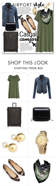 """Casual Wear - Airport Style : Casual Comfort"" by sonyastyle ❤ liked on Polyvore featuring Gap, LE3NO, Tumi, Yoko London, Shinola, Tiffany & Co., airportstyle, polyvoreeditorial, polyvorecontest and tumi"