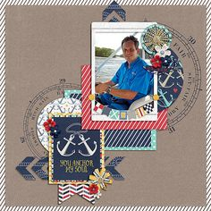 You Anchor My Soul Digital Scrapbook Layout by Juli Fish Anchor My Heart Collection by Kim at The Digital Press; Start Of Summer Templates by DSI  nautical, flowers, anchors, stripes, digital template, husband, flowers