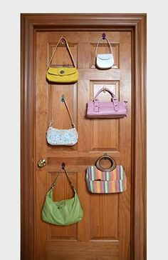 Eliminate the use of precious closet space and utilze vertical door space to hang all of your purses and handbags! Click the link to learn more!