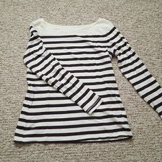 Boat Neck Striped T-shirt Previously loved (but still in great condition!) LOFT 3/4 sleeve t-shirt. Color is off-white with dark purple/maroon stripes. Slightly discolored in the underarm, but barely noticeable. PLEASE NOTE: This is a petite size LOFT Tops