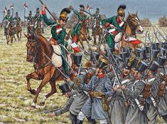 French Lancers in Action against Austrian infantry