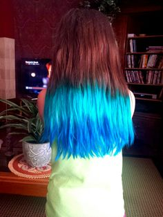 I bleached the bottom half of my daughter Brynn's chestnut brown hair and dyed it a teal-to-blue ombre. We used N'Rage Twisted Teal and Manic Panic Shocking Blue. Really fun for summer! #stellrechthouse