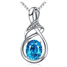 Birthday Gift for Women Anniversary Sterling Silver Blue Pendant Necklace NEW #Necklace