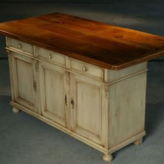 Custom Made Kitchen Island Furniture: European Sideboard Base In Snow White With 6ft Table Top In Brown Cherry