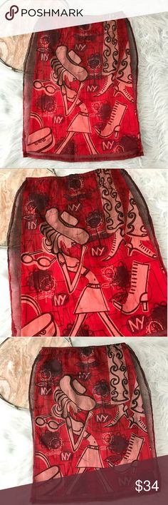 """Custo Barcelona Pencil Skirt Custo Barcelona red novelty print pencil skirt. Womens size Small. Gently used, without flaws. See pictures for details.  Armpit to Armpit - 13"""" Length - 24""""  Inventory 03222017 Custo Barcelona Skirts"""