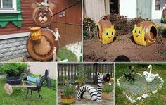 These are cute as can be. Made of old tires they are creative and appealing.