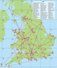 A map of Englands Ley Lines and a key of sacred sites that they pass through: