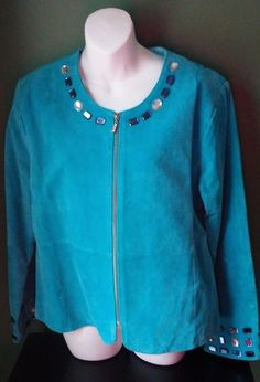 Karen Arnold Suede Leather Jacket Couture Turquoise Blue Gem Tailored Sz XL EUC #karenarnold #BasicJacket