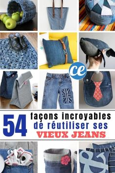 54 Amazing Ways to Reuse Your Old Jeans Diy Jeans, Jeans Denim, Diy Clothes Videos, Old Clothes, Clothes Crafts, Jean Diy, Diy Clothes Refashion, Refashioning Clothes, Baby Vest